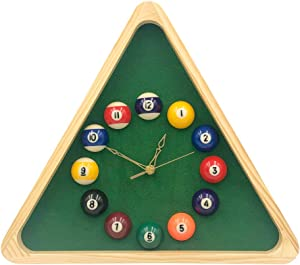 Yuanhe 13 Inch Billiard Quartz Clock with Solid Wood Frame Creative Wall Clock for Living Room,Bedroom