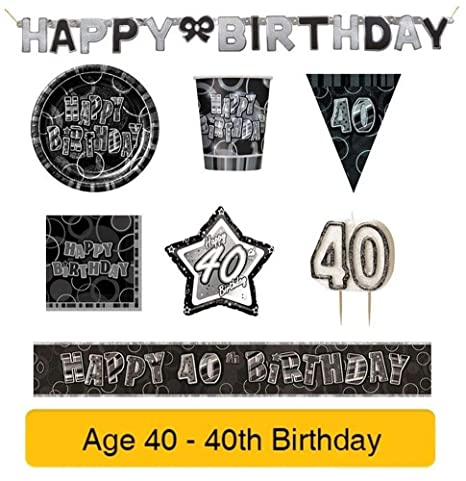 NANAS PARTY Edad 40 - 40 cumpleaños Negro y Plata glitze ...