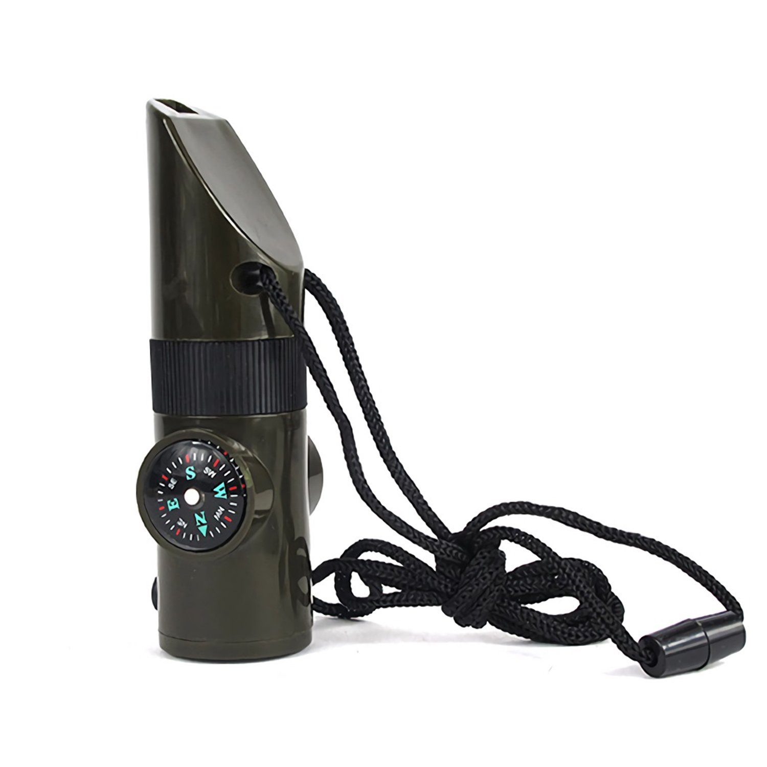 Multifunctional Outdoor Whistle 7 in 1 Camping Hiking Survival Whistle with Compass Magnifier LED Flashlight Thermometer Mirror Small Storage Warehouse (Dark Green) Ronoa
