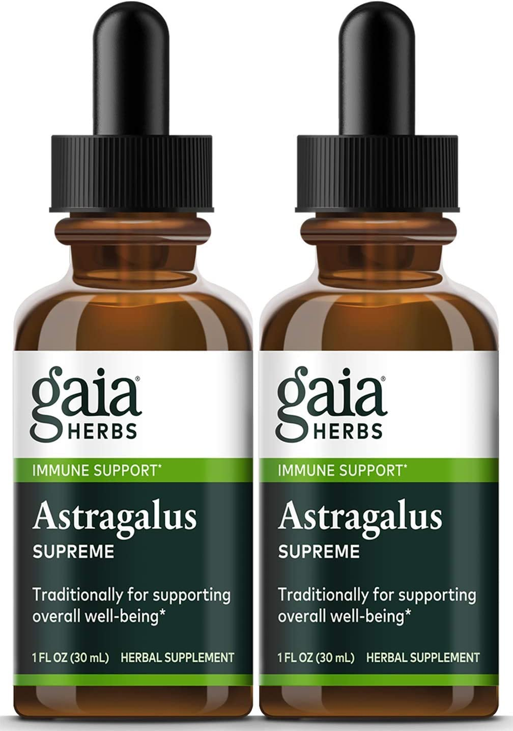 Gaia Herbs Astragalus Supreme, Liquid Herbal Extract, 1 Ounce Pack of 2 – Deep Immune Support and Stress Resistance, with Antioxidants