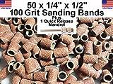 Generic QYUS4160215781310 Bands Sanding + /4'' 100 100 Grit Drums 50 - 1/ 50 - 1/4'' rums Ba Mandrel Dremel Dremel 1 - 3/32'' 2'' Mandrel Dremel