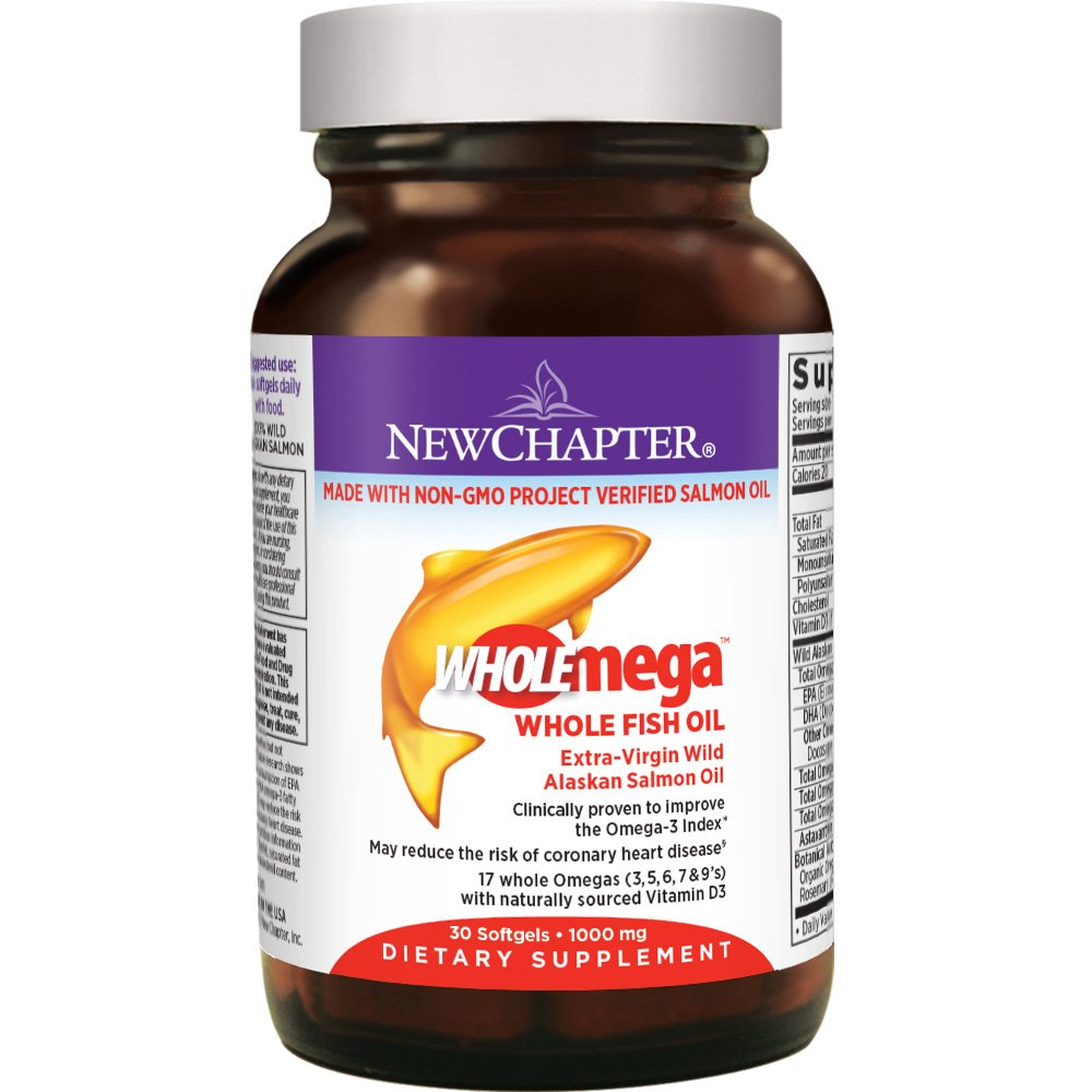 New Chapter Fish Oil Supplement - Wholemega Wild Alaskan Salmon Oil with Omega-3 + Vitamin D3 + Astaxanthin + Sustainably Caught - 30 Count