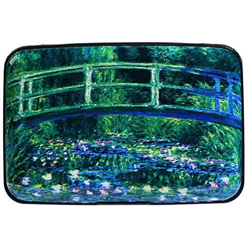Aluminum Wallet RFID Blocking Metal Credit Card Holder Slim Hard Case (Bridge Over a Pool of Water Lilies)