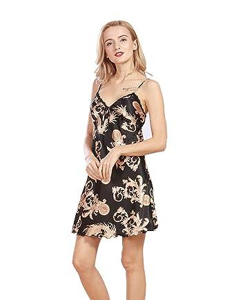 VERNASSA Womens Luxury Spaghetti Strap Chinese Dragon and Phoenix Pattern  Silk Lingerie Sleepwear Slip Chemise Nightgown 24cc8df8d