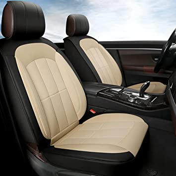 GIANT PANDA Beige Car Seat Covers Front Pair, Perforated Leather Automotive Seat Protectors for Most Sedans, SUVs, Mini Vans and Pickups, Neat and Comfortable