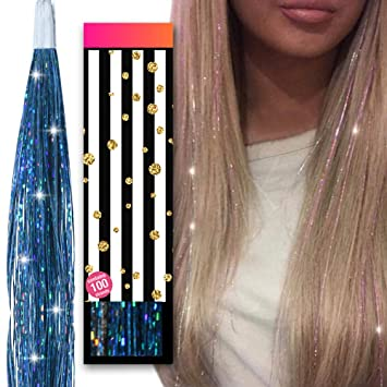 Christmas Glitter Tinsel Long Hair Streak Clip In Extension Hairpiece Accessory
