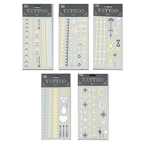 LOT 5 plaques de Tatouages Temporaires Métalliques ARGENT/OR Bracelets Bijoux mariages et motifs de JUST-A-CLIC