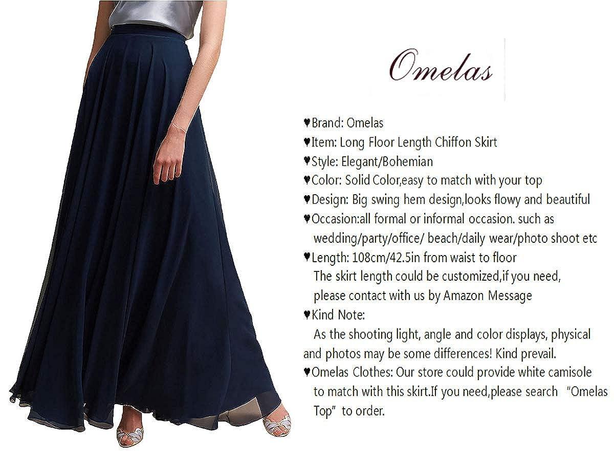 c59fb586ef61 Omelas Women Long Floor Length Chiffon High Waist Skirt Maxi Bridesmaid  Party Dress at Amazon Women's Clothing store: