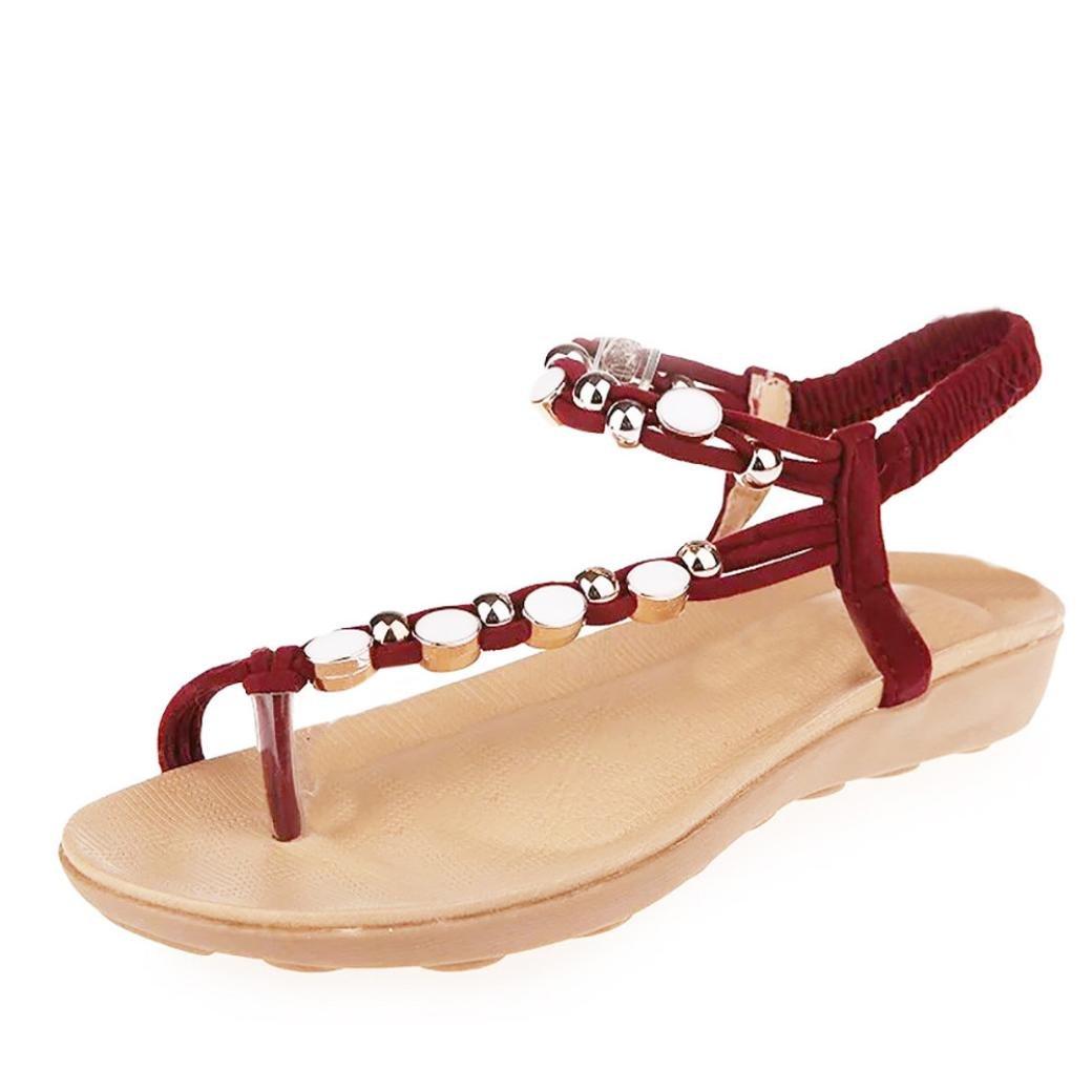 Honestyi Sandalen??Frauen Flache Schuhe Perlen Bouml;hmen Freizeit Sandalen Peep Toe Flip Flops Schuhe Flache Mode Schuhe Leder Flach Boden Hausschuhe Bequeme Schuhe  36 EU|Rot