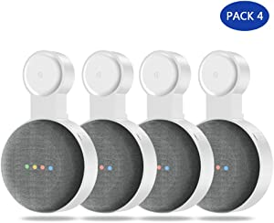 Google Home Mini Wall Mount Holder,Update Space-Saving Design AC Outlet Mount, Perfect Cord Management for Google Home Mini Voice Assistant (4 Pack White)