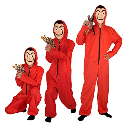 GDCB Disfraz Casa De Papel 2019 Unisex Movie Cosplay Red Disfraz de Halloween Monos con máscara de Dali