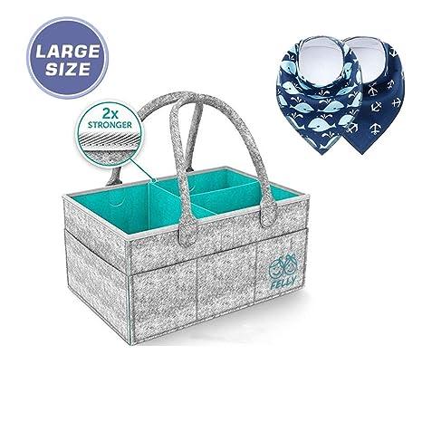 Pañales Organizador, Felly Cesta de almacenamiento para Pañales de Bebé Además trae dos Baberos, cesta de regalo para recién nacido, Multi Bolsillos y ...