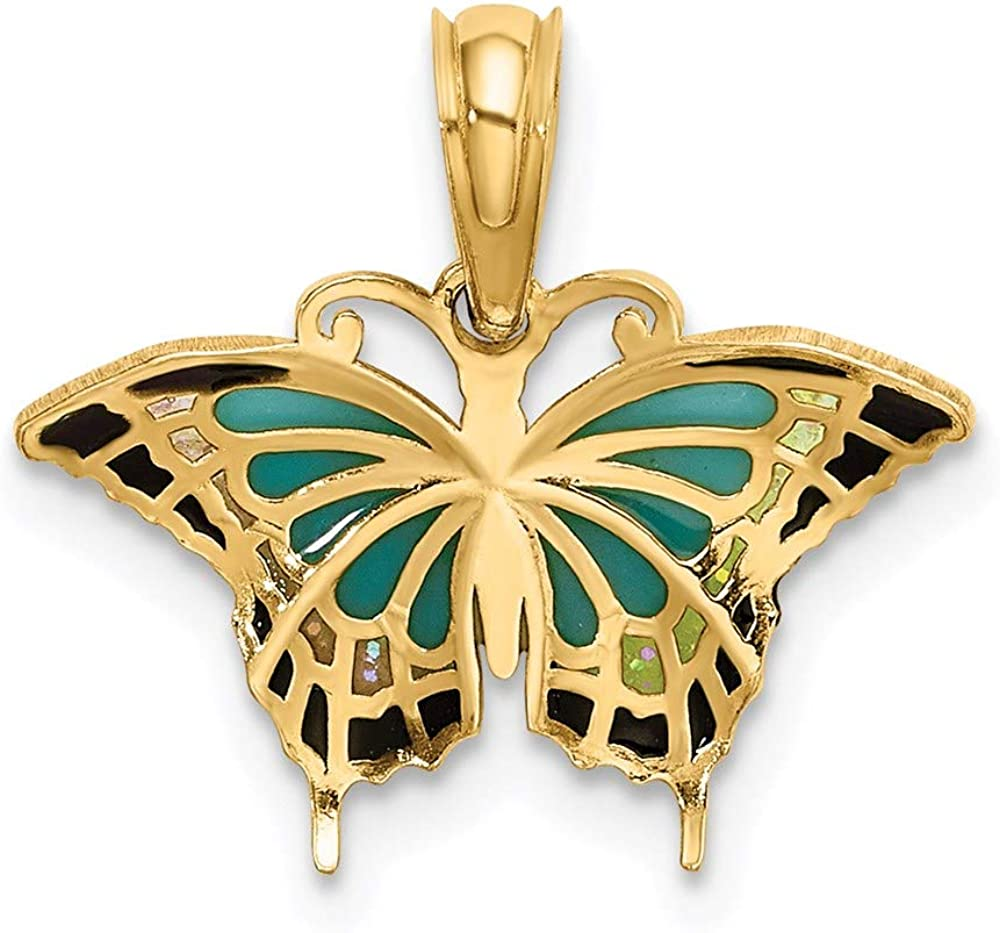 Details about  /14K Yellow Gold Translucent Acrylic Wings Butterfly Charm Pendant MSRP $270