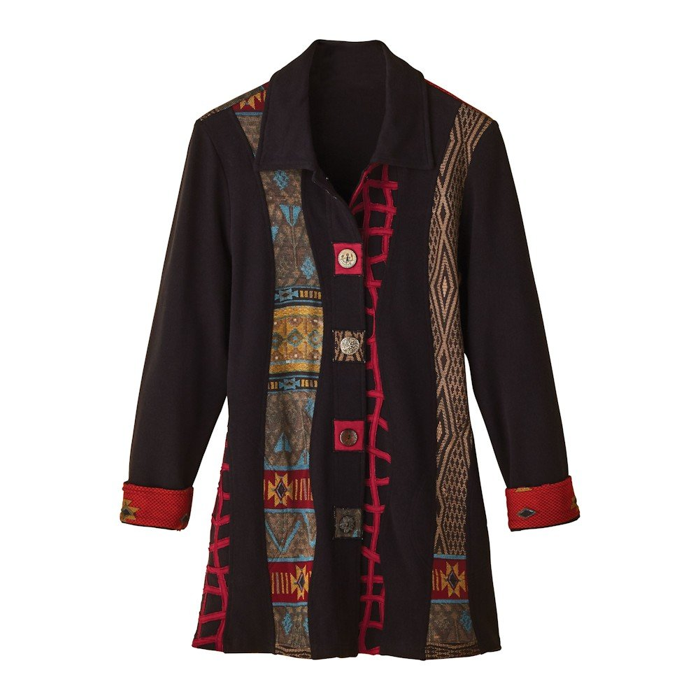 Women's Long Coat - Novelty Buttons & Southwestern Print Jacket - Black - 1X by PARSLEY & SAGE