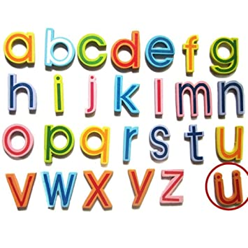 Yeefant Juego de 26 piezas de madera de dibujos animados alfabeto de collage magnético animales imanes nevera pegatina nevera nevera nevera para niños ...