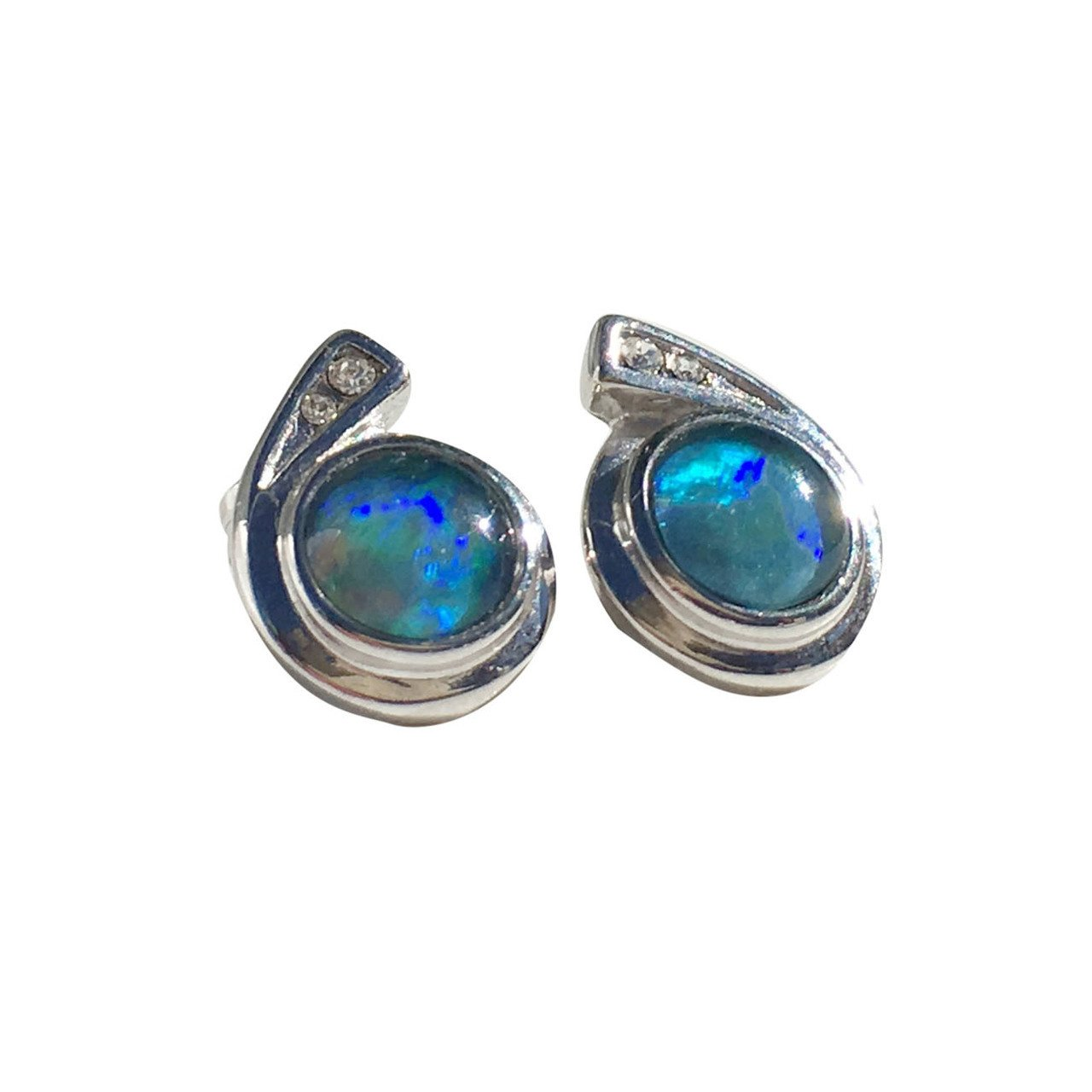 TWINKLE STAR STERLING SILVER OPAL EARRINGS