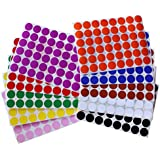 "Color Coding Labels ~ 3/4"" diameter (11/16 - 17mm) Round Dot Stickers - 10 colors combination - Black, White, Red, Green, Yellow, Pink, Red, Orange, Brown and Blue - 960 pack"