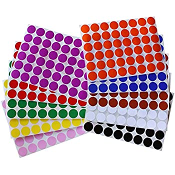 """Color Coding Labels ~ 3/4"""" diameter (11/16 - 17mm) Round Dot Stickers - 10 colors combination - Black, White, Red, Green, Yellow, Pink, Red, Orange, Brown and Blue - 960 pack"""