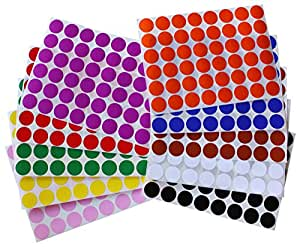 """Color Coding Labels ~ 3/4"""" diameter (11/16 - 17mm) Round Dot Stickers 10 colors combination - Black, White, Red, Green, Yellow, Pink, Red, Orange, Brown and Blue - 576 pack"""