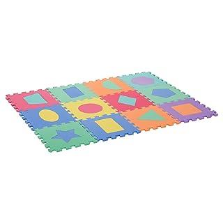homcom Tappeto Puzzle 12 Pezzi Tappeto da Gioco per Bambini Multicolore con Figure Geometriche Eva 31 × 31cm Aosom Italy