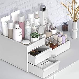 Large Capacity Cosmetic Storage Box Makeup Drawer Organizer Jewelry Nail Polish Makeup Container Desktop Sundries Storage Box (White)