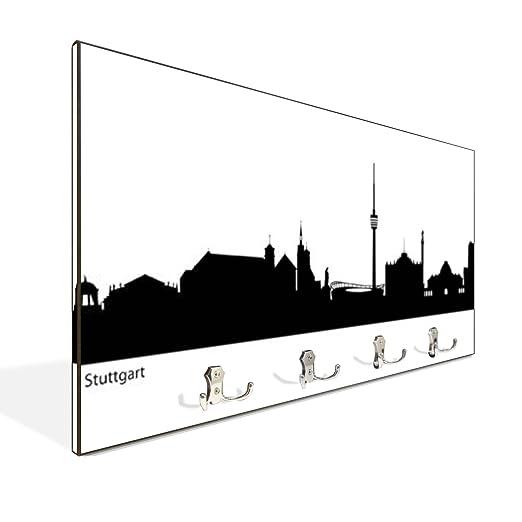 Perchero de pared marrón con 4 dobles y diseño: Skyline ...
