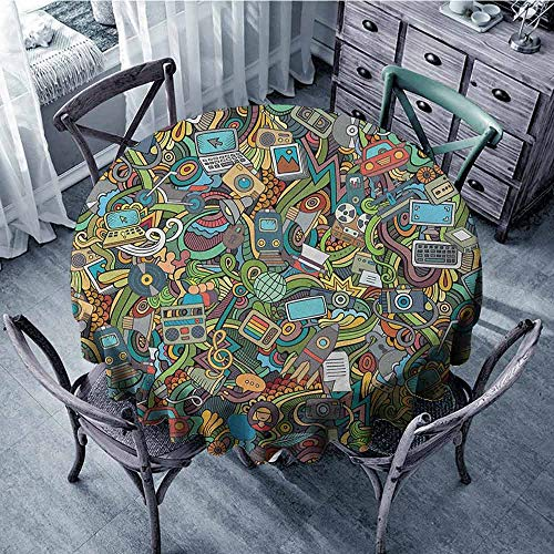 (ScottDecor Reusable Round Tablecloth Outdoor Picnics Doodle,A Variety of Social Media Devices Drawn Abstract Manner Computer Photos Smartphone, Multicolor Diameter)