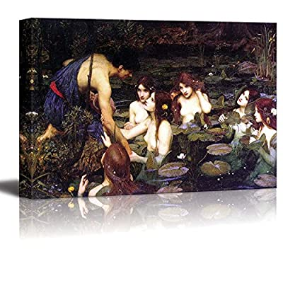 Hylas and The Nymphs (1896) by John William Waterhouse - Canvas Print Wall Art Famous Painting Reproduction - 16