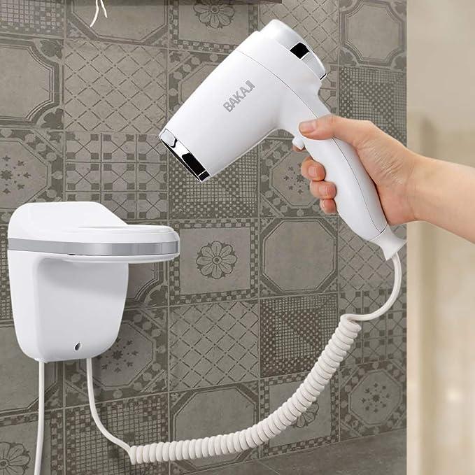 Bakaji - Secador de pared para el pelo, 1100 W, 3 velocidades, color blanco y plateado, para casa o hotel: Amazon.es: Belleza
