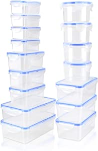 Tauno Food Storage Containers Plastic with Lids, Kitchen Organizer Food Prep Microwaveable, Kitchen Organizer for Entertaining 52 Cup /13 Quart Total 16 Pack