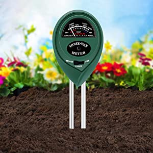 BEOK Soil pH Meter, 3-in-1 Soil Moisture/Light/pH Tester Gardening Tool Kits for Plant Care, Great for Garden, Lawn, Farm, Indoor & Outdoor Use (No Battery Required)