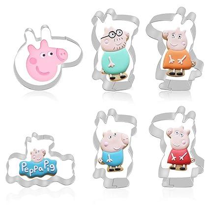 FHzytg 6 Pieza Peppa Pig Moldes Tarjeta Impresas con 6 Unidades para niños, – Peppa