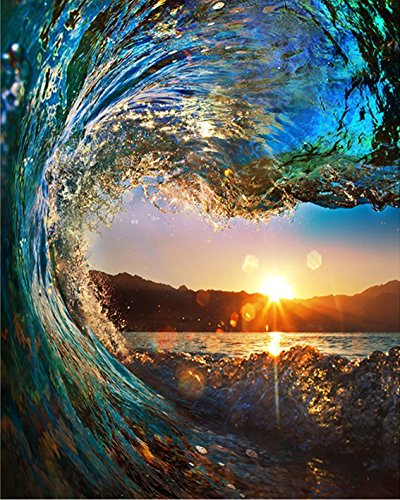 By Acrylic Number Paint - BOSHUN Paint by Numbers Kits with Brushes and Acrylic Pigment DIY Canvas Painting for Adults Beginner- Sunset Seascape 16 x 20 inch(Without Frame)