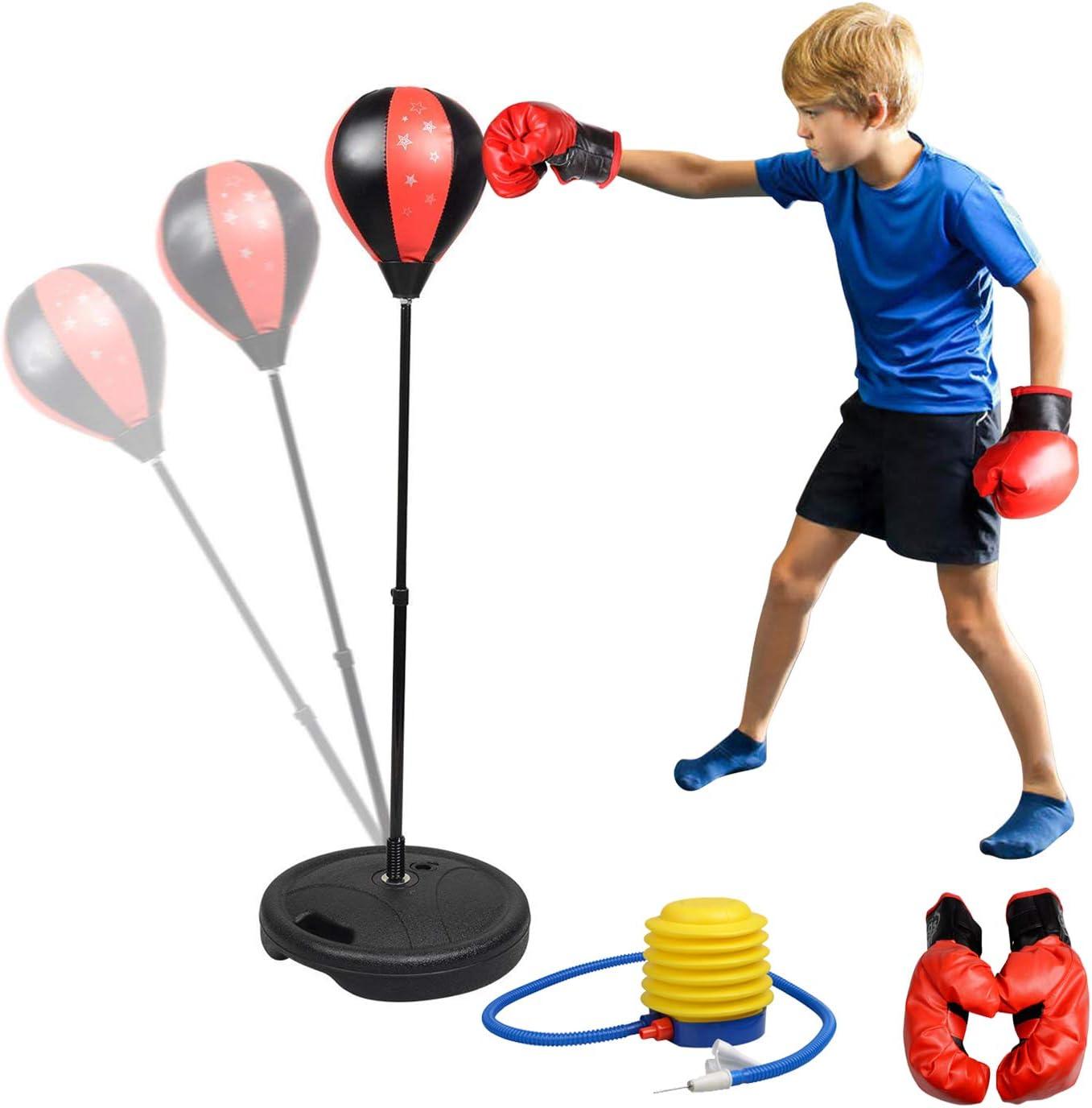 Set de Boxeo para Ni/ños Bola de Velocidad Saco de Boxeo de Pie Boxeo Pelota con Guantes y Bomba Altura Ajustable 70-105 cm Rellenar con Agua o Arena para Ni/ños y Adolescentes EBTOOLS Punching Ball