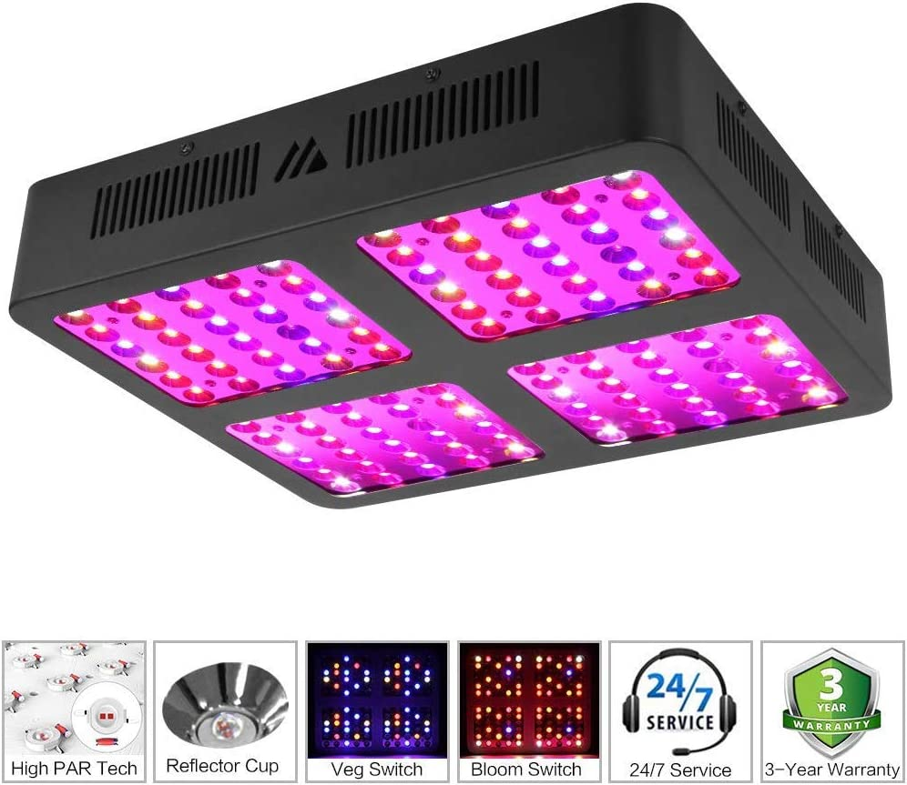 600W led Grow Light GrowLights Plant Lights for Indoor Plants MORSEN Grow Light New Full Spectrum Double Switch Plant Light with Reflector for Indoor Plants Veg and Flower