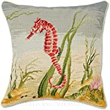 Handmade 100% Wool Needlepoint Decorative Coastal Maritime Shore Beach Ocean Seahorse Throw Pillow. 18'' x 18''.
