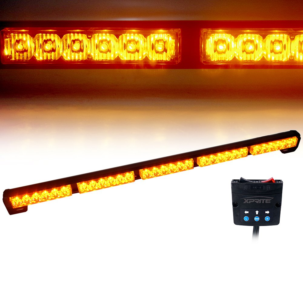 "Xprite 31.5"" 30 LED 30W High Intensity Amber / Yellow 16 Modes Traffic Advisor Strobe Light Bar Kit T1001-5-Y"