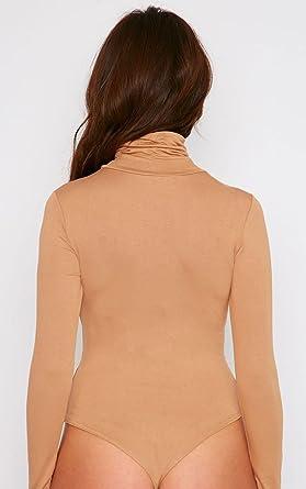 d9866a99f72c0 Womens Cher Camel Roll Neck Long Sleeve Thong Bodysuit - Camel - 6 ...