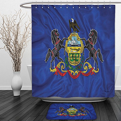 Vipsung Shower Curtain And Ground MatAmerican Decor Collection Pennsylvania Flag Sheaves of Wheat State Coat of Arms Wavy Symbol Patriotic Picture Navy Gray RedShower Curtain Set with Bath Mats Rugs