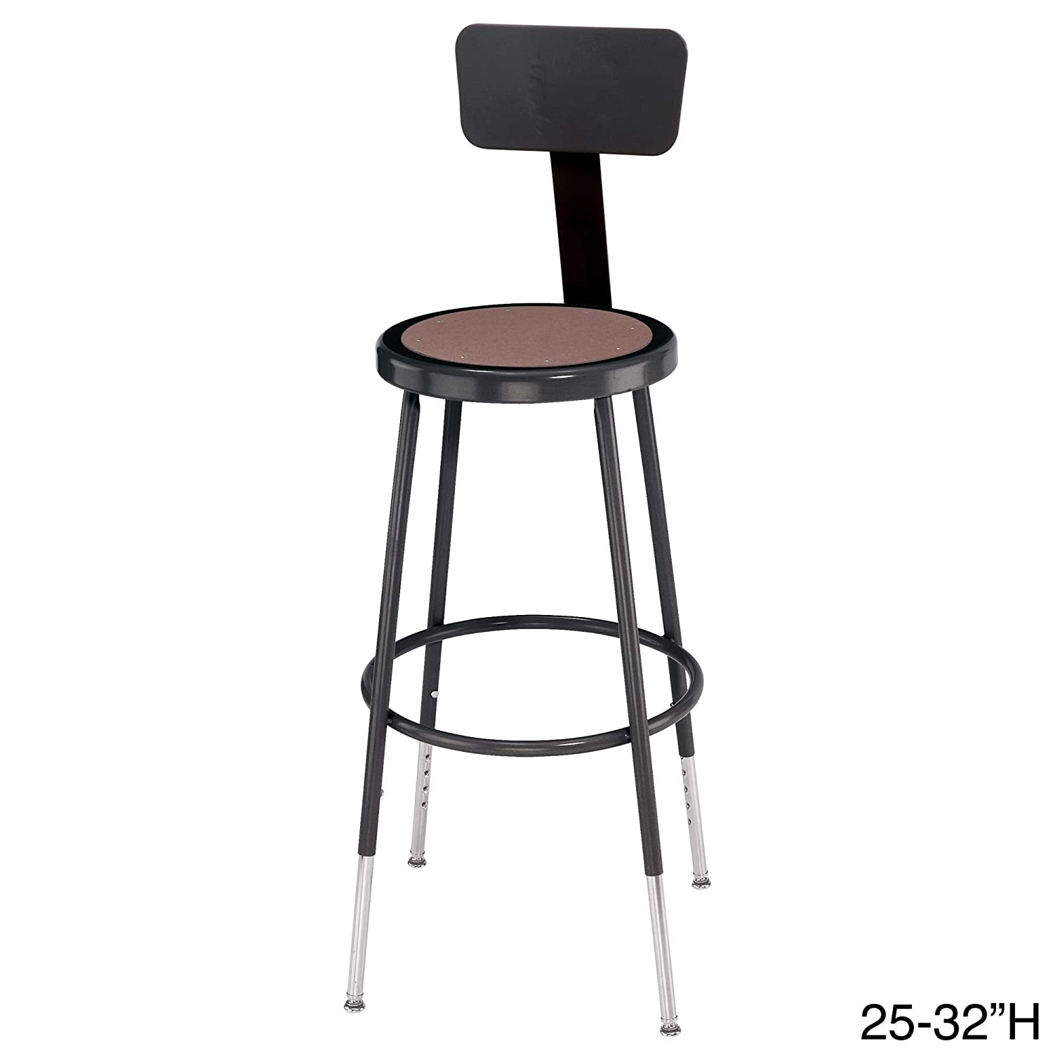 "National Public Seating 24"" Adjustable Steel Stool with Backrest, Black (6224HB-10)"