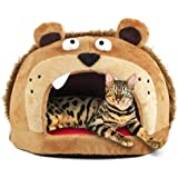 Petories Lion Head Design Self Warming Pet House and Bed with Removable Cushion for Small Cats and Puppies
