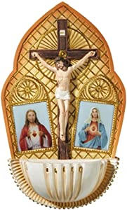 The Sacred Hearts with Crucifix Resin Holy Water Font, 7 1/2 Inch