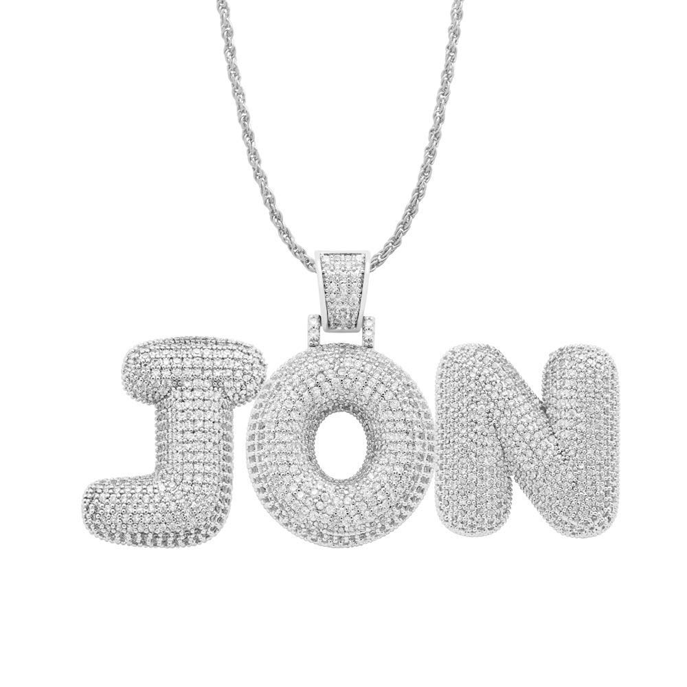 POSHFEEL Iced Out Lab Premium Simulated Diamond Bling Bubble Letters Pendant Necklace Chain Men Hip Hop Fashion