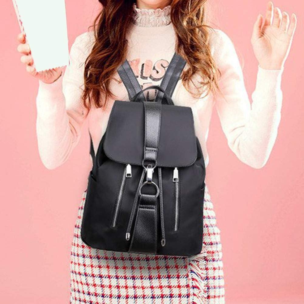 onestaring Pocket Backpack,Solid Color Nylon Waterproof Flap Zipper Bucket Tote Backpack Shoulder Bag for Women Girls