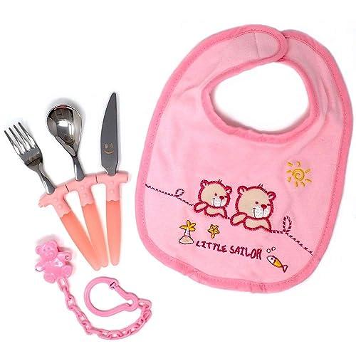 Juego bebé cubiertos babero portachupe caja plata Ley 925m [AB9701]: Amazon.es: Joyería