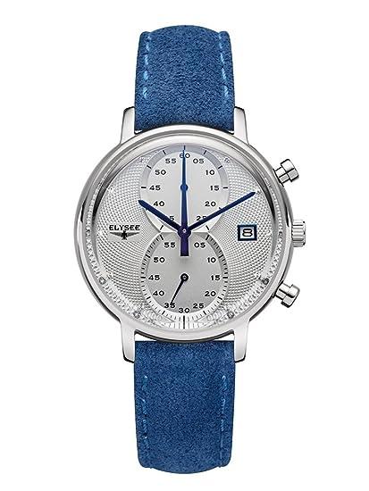 Elysee Reloj para Mujer Cronógrafo Cuarzo con Suede Brazalete de Cuero 83823: Amazon.es: Relojes