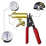 PETZE Hand Held Vacuum Pump Tester Set Vacuum Gauge and Brake Bleeder Kit for Automotive with Adapters, Case