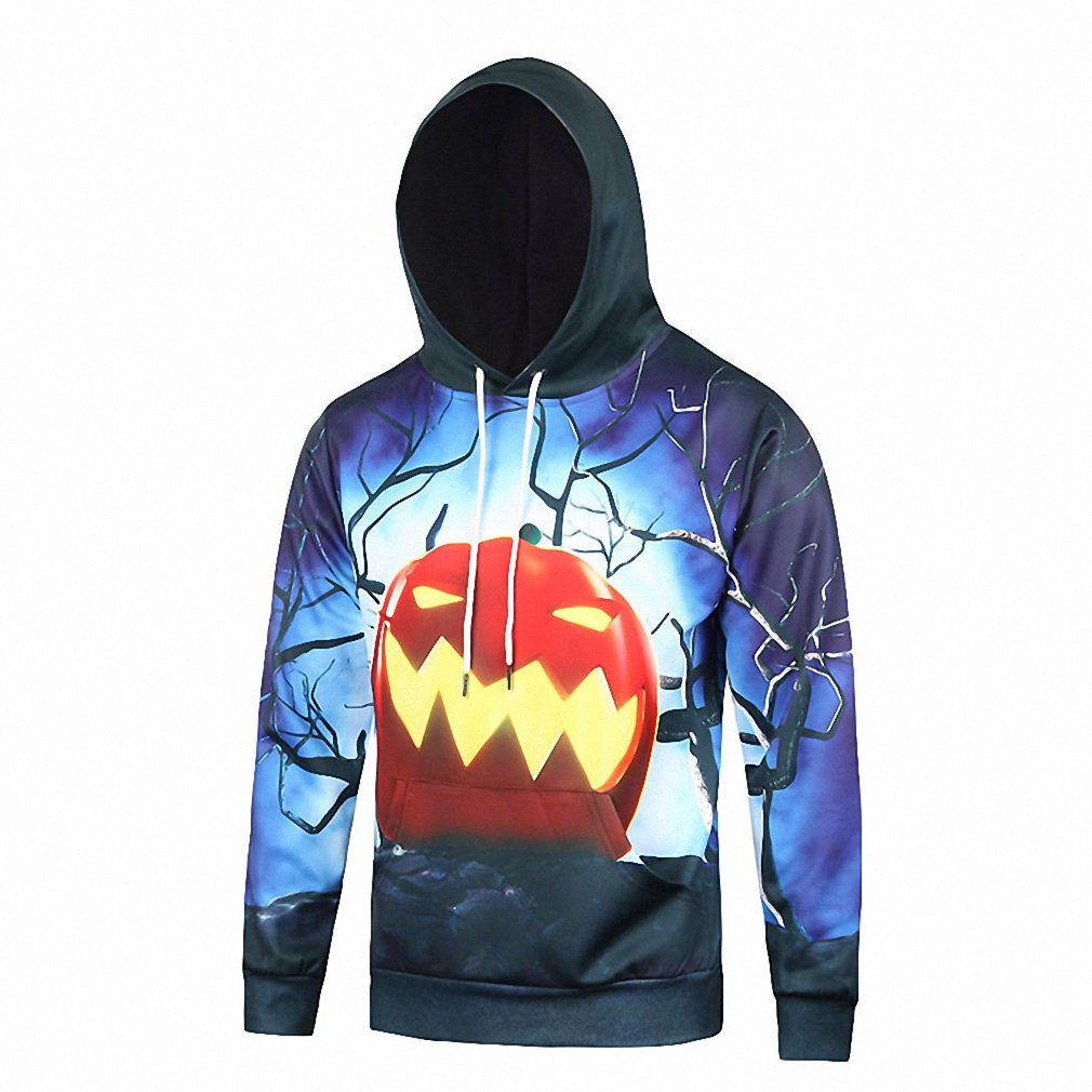 Crochi Arrival 3D Pumkpin Print Women/Men Halloween Hoodies Autumn Funny Pullover hooded Sweatshirt For Men Plus Size XXXL at Amazon Womens Clothing store: