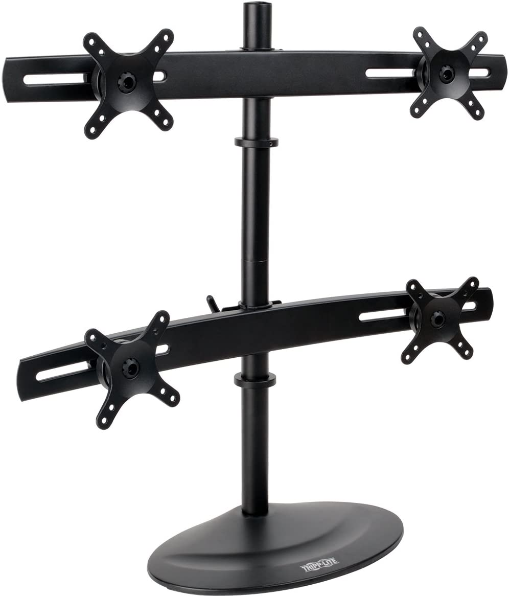 Tripp Lite Quad Monitor Mount Stand, Swivel Tilt, 10-26 Inch Flat Screen Displays, Desktop Mount, Black DDR1026MQ