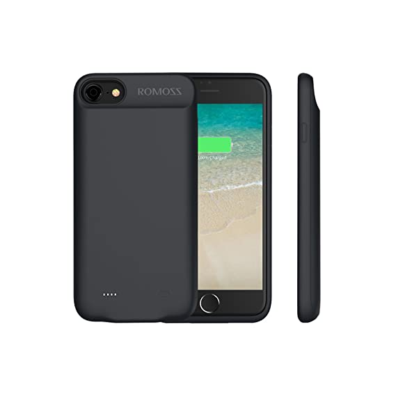 uk availability 697a2 965f4 iPhone 7 Battery Case, ROMOSS Encase 7 Ultra Slim Extended Charger Case  Cover for iPhone 7 (4.7 inch) 2800mAh Capacity Extra 100% Battery - Black